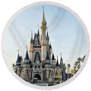 The Magic Kingdom Castle On A Beautiful Summer Day Round Beach Towel