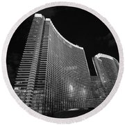 The Magnificent Aria Resort And Casino At Citycenter In Las Vegas Round Beach Towel