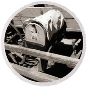 The Mailbox And The Wagon Round Beach Towel