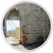 The Main Door To St.george Ruins Round Beach Towel