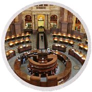 The Main Reading Room Of The Library Of Congress Round Beach Towel