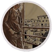 The Man Who Loved Paris Round Beach Towel