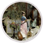 The Mandolin Shop Round Beach Towel by Vincenzo Capobianchi