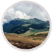 The Manitou And Pikes Peak Railway Cog Descends Round Beach Towel