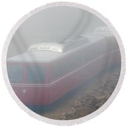 The Manitou And Pikes Peak Railway Cog In Fog Round Beach Towel