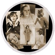 The Many Faces Of Greta Garbo Round Beach Towel