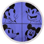 The Many Faces Of Mickey Round Beach Towel