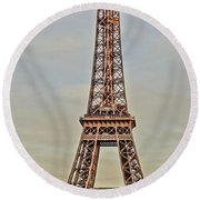 The Many Faces Of The Eiffel Tower In Paris France Round Beach Towel
