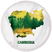 The Map Of Cambodia 2 Round Beach Towel