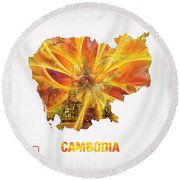 The Map Of Cambodia Round Beach Towel