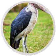 The Marabou Stork In Tanzania. Africa Round Beach Towel