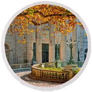 The Marble House In Autumn Round Beach Towel