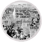 The March For Civil Rights Round Beach Towel by Benjamin Yeager