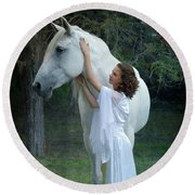 The Mare And The Maiden Round Beach Towel