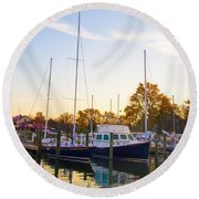 The Marina At St Michael's Maryland Round Beach Towel