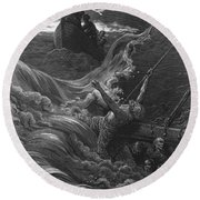 The Mariner As His Ship Is Sinking Sees The Boat With The Hermit And Pilot Round Beach Towel by Gustave Dore