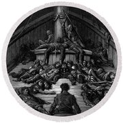 The Mariner Gazes On His Dead Companions And Laments The Curse Of His Survival While All His Fellow  Round Beach Towel by Gustave Dore