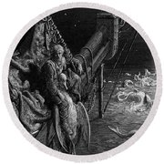 The Mariner Gazes On The Serpents In The Ocean Round Beach Towel by Gustave Dore