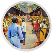 The Market Place Round Beach Towel