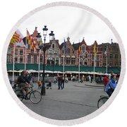 The Markt Bruges Belgium Round Beach Towel