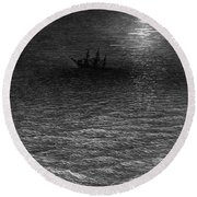 The Marooned Ship In A Moonlit Sea Round Beach Towel