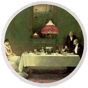 The Marriage Of Convenience, 1883 Round Beach Towel by Sir William Quiller Orchardson