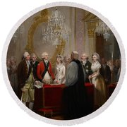 The Marriage Of The Duke And Duchess Of York Round Beach Towel by Henry Singleton