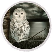 The Marsh At Night Round Beach Towel