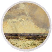 The Marsh In The Souterraine, 1842 Round Beach Towel by Theodore Rousseau
