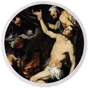 The Martyrdom Of Saint Lawrence Round Beach Towel by Jusepe de Ribera