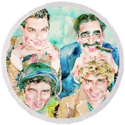 The Marx Brothers / Watercolor Painting Round Beach Towel