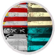 The Max Face In Quad Colors Round Beach Towel