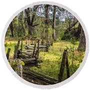 The Meadow Fence Round Beach Towel