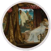 The Meeting Of Antony And Cleopatra  41 Bc Round Beach Towel