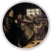 The Menshikov Family In Beriozovo, 1883 Oil On Canvas Round Beach Towel