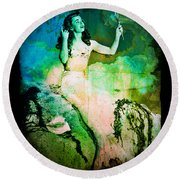 The Mermaid Mirror Round Beach Towel