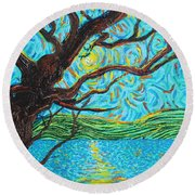 The Mermaid Tree Round Beach Towel