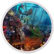 The Mermaids Treasure Round Beach Towel