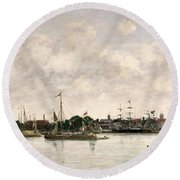 The Meuse At Dordrecht Round Beach Towel by Eugene Louis Boudin
