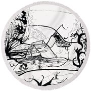 The Middle Of Nowhere Round Beach Towel