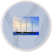 The Mighty Maltese Falcon Round Beach Towel