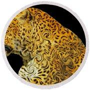 The Mighty Panthera Pardus Round Beach Towel
