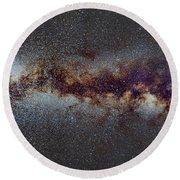 The Milky Way From Scorpio Antares And Sagitarius To North America Nebula In Cygnus Round Beach Towel