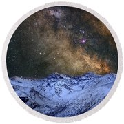 The Milky Way Over The High Mountains Round Beach Towel