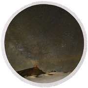 the Milky Way Sagittarius and Antares over the Sierra Nevada National Park Round Beach Towel