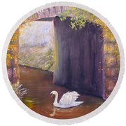 The Mill Swan Round Beach Towel