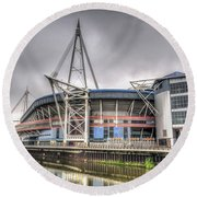 The Millennium Stadium With Flag Round Beach Towel