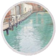The Mills At Montreuil Sur Mer Normandy Round Beach Towel by Fritz Thaulow