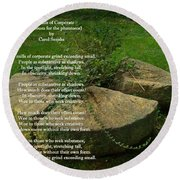 The Mills Of Corporate - Poem And Image Round Beach Towel
