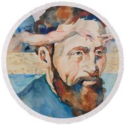 The Mind Of Michelangelo Round Beach Towel